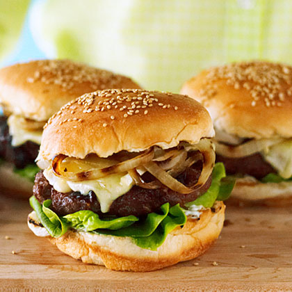 su-Cherry and Brie Burgers with Rosemary and Grilled Onion