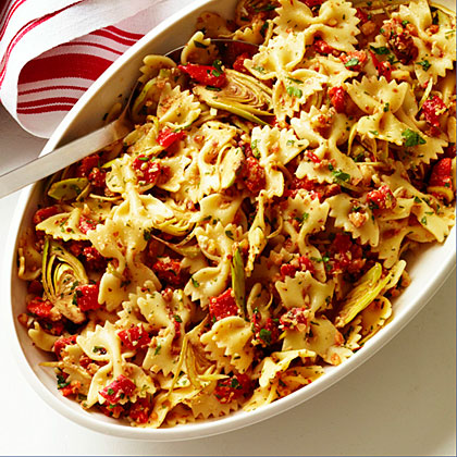 su-Farfalle with Artichokes, Peppers, and Almonds