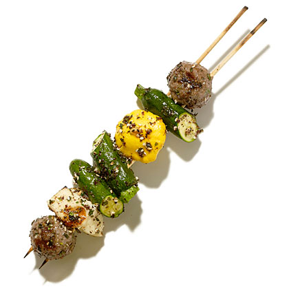 su-Grilled Meatball, Halloumi, and Baby Squash Skewers