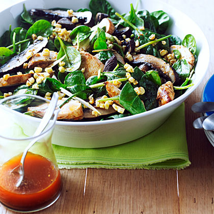 su-Grilled Chicken, Corn, and Spinach Salad with Smoky Paprika Dressing