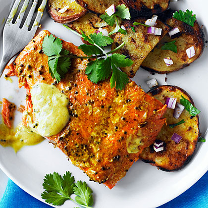 su-Indian-Spiced Sockeye and Grilled Potato Salad