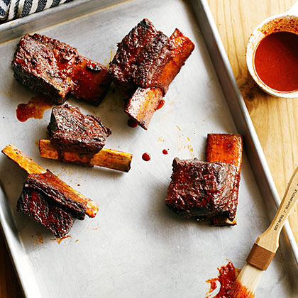 su-Achiote Short Ribs with Ancho Barbecue Sauce and Avocado Relish
