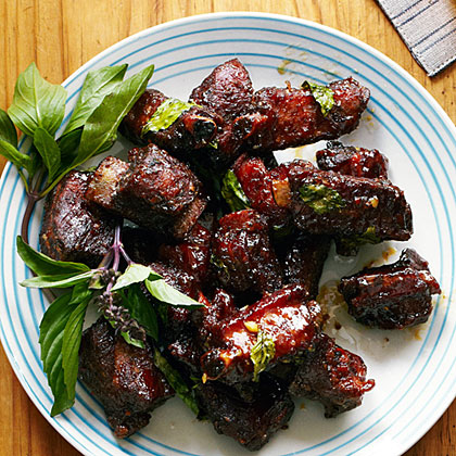 su-Chinese Glazed Riblets with Garlic and Thai Basil