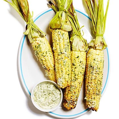 su-Grilled Corn on the Cob with Cilantro Queso Fresco Butter