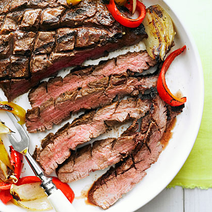 su-Grilled Flank Steak, Onion, and Peppers