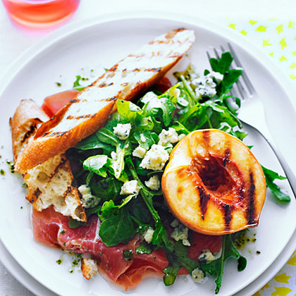 su-Grilled Peach Salad with Rosemary Dressing