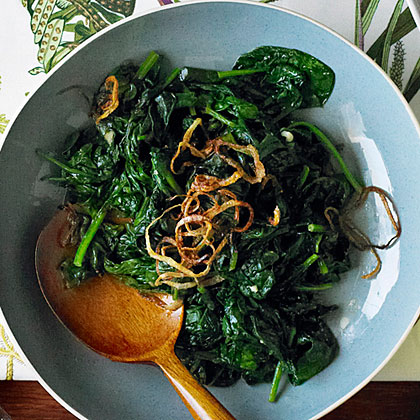 su-Spinach with Fried Shallots
