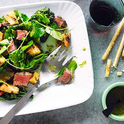 su-Beef, Broccolini, and Bread Salad with Salsa Verde