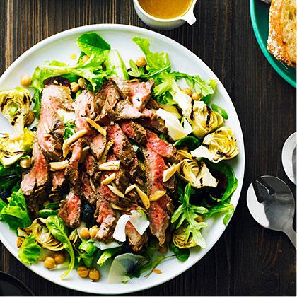 su-Garlicky Steak Salad with Chickpeas and Artichokes