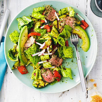 su-Grilled Steak and Vegetable Salad with Chipotle Chimichurri Dressing