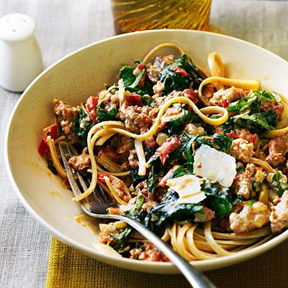 su-Spicy Sausage and Chard Pasta