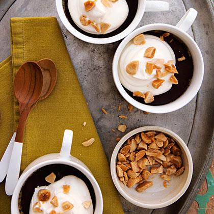su-Vanilla Pots de Crème with Dark Chocolate and Roasted Almonds