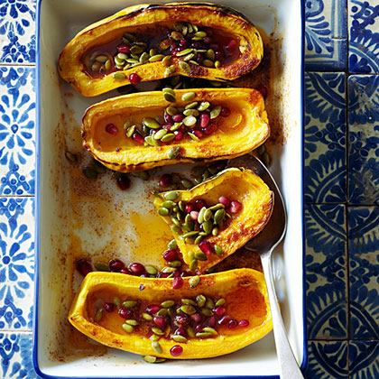 su-Roasted Delicata Squash with Honey, Pomegranate Seeds, and Pepitas