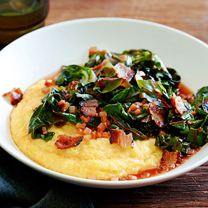 su-Spicy Rainbow Chard with Bacon and Polenta