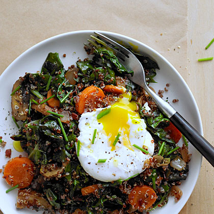 su-Red Quinoa Bowl with Swiss Chard and Poached Egg