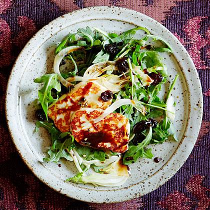 su-Arugula and Halloumi Salad with Pomegranate Molasses Dressing