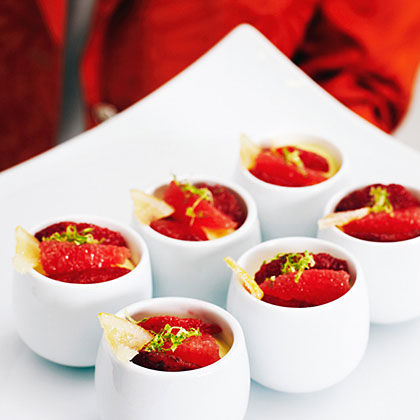 su-Honey Custards with Blood Oranges and Candied Lemon