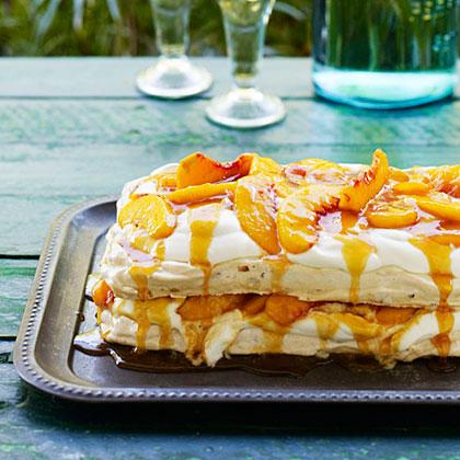su-Almond Pavlova with Peaches, Cream, and Salted Peach Caramel