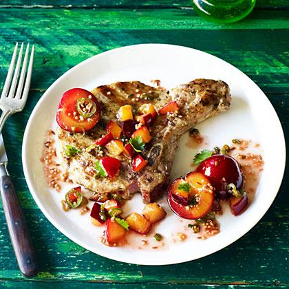 su-Grilled Pork Chops with Fresh Plum Chutney