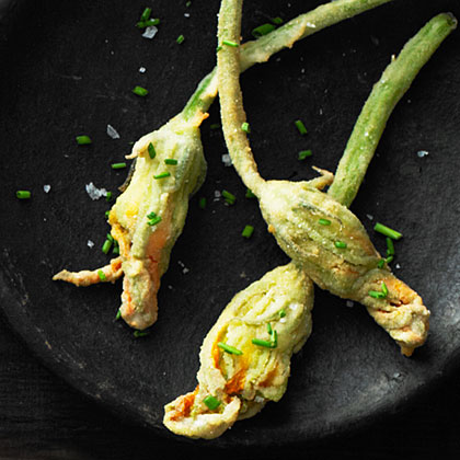su-Fried Squash Blossoms with Corn and Mozzarella
