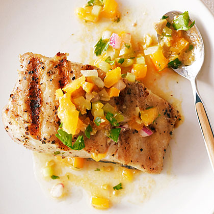 su-Grilled Halibut with Tomato, Green Olive, and Celery Sauce