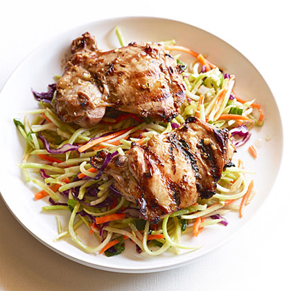 su-Grilled Thai Chicken Thighs with Spicy Broccoli Slaw