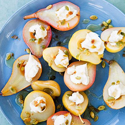su-Sauvignon Blanc-Poached Pears with Spicy Pepitas