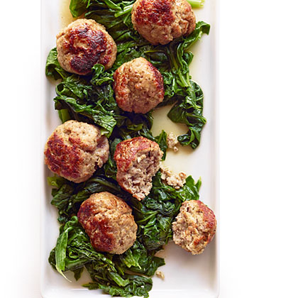 su-Giant Pork Meatballs with Bitter Greens