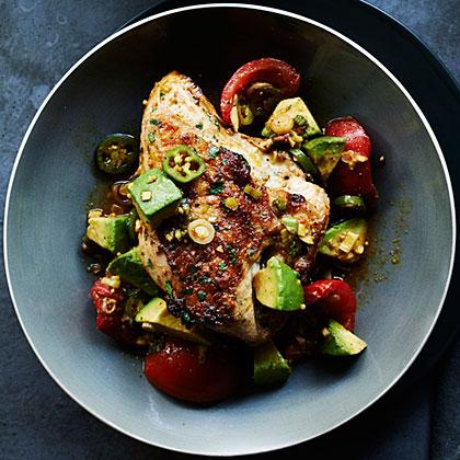su – Grilled Cilantro Chicken with Pickled Tomato and Avocado Salsa