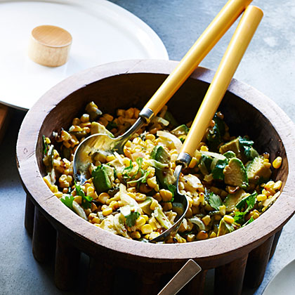 su-Grilled Corn Poblano Salad with Chipotle Vinaigrette