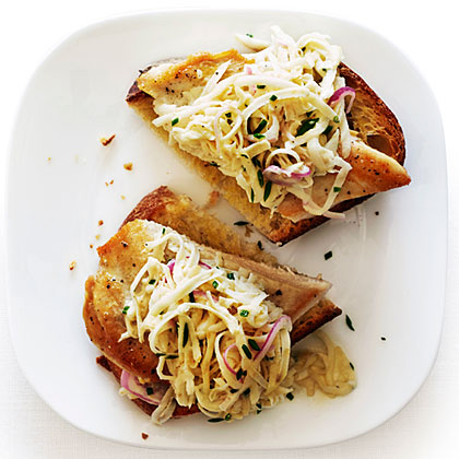 su-Open-Face Chicken Sandwiches with Celery Root Salad