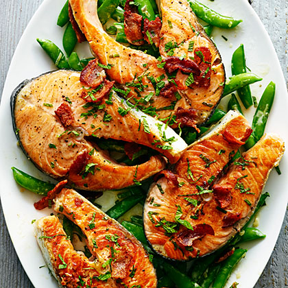 su-Salmon with Snap Peas, Bacon, and Mint