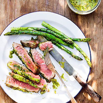 su-Rib-Eye Steaks with Pistachio Butter and Asparagus
