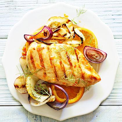 su-Grilled Chicken and Fennel with Orange Glaze