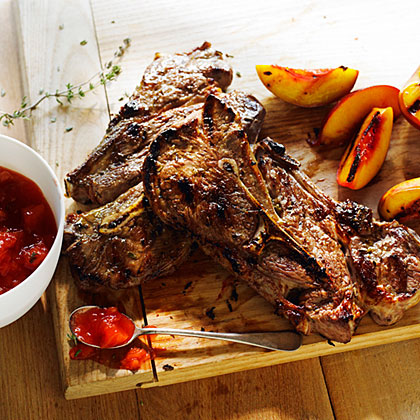 su-Grilled Lamb Chops with Nectarine Thyme Jam