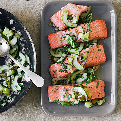 su-Baked Salmon with Tarragon-Glazed Cucumber