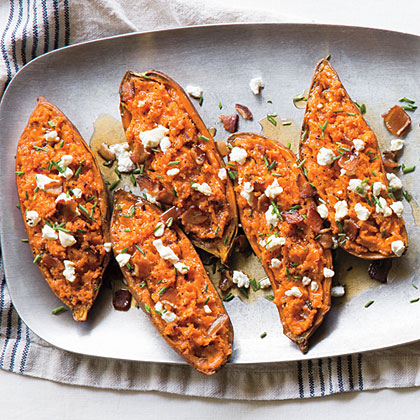 su-Twice-Baked Sweet Potatoes with Bacon and Goat Cheese