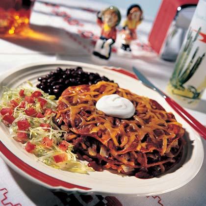 Stacked Red Chili Enchiladas