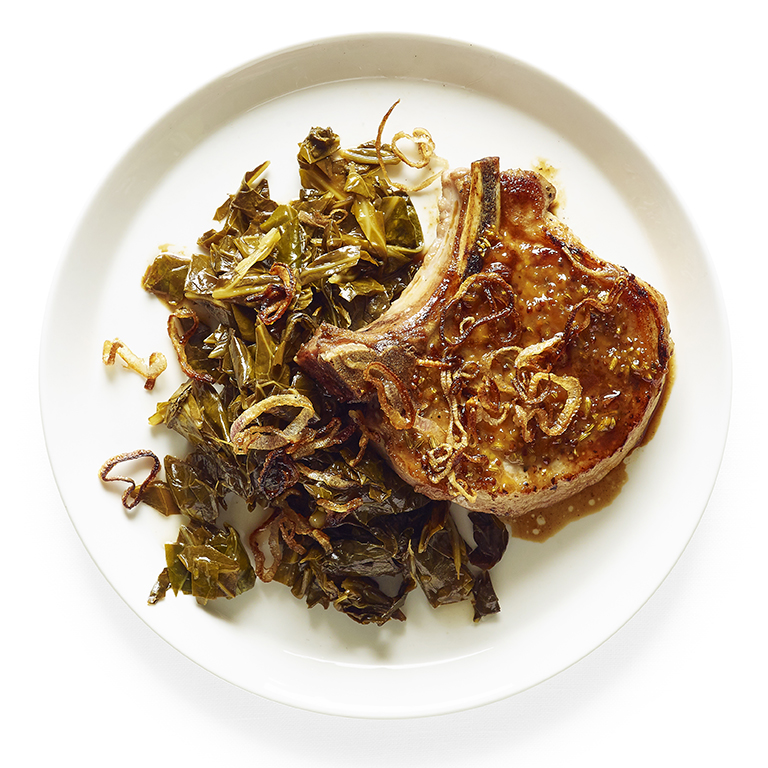 su-Pan-Roasted Pork Chops with Quick Pickled Greens Image