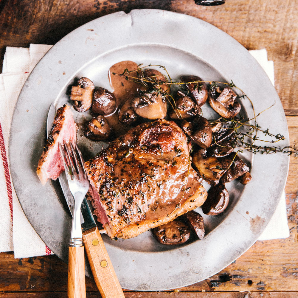 su-Pan Seared New York Steak with Mushrooms Image
