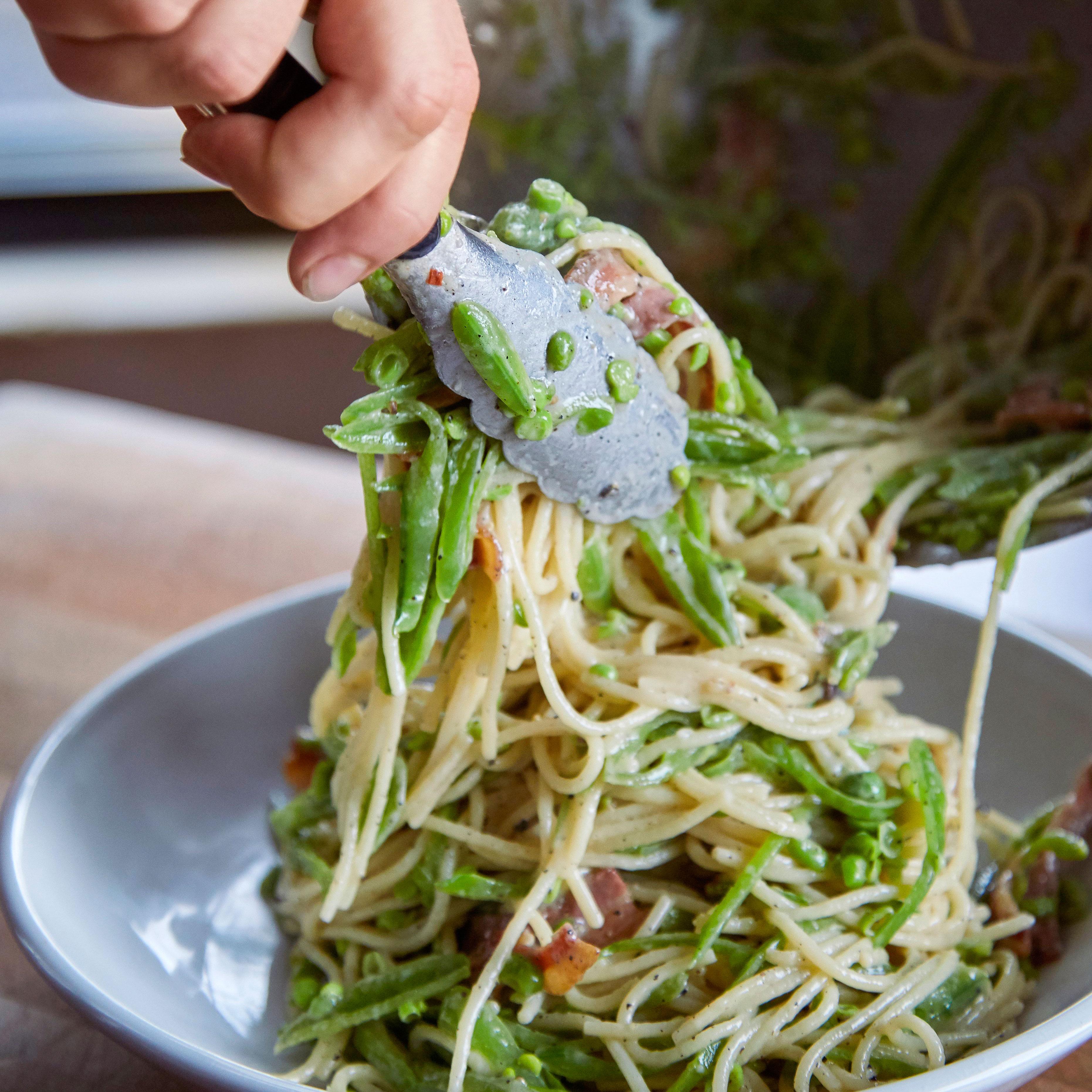 su-Pasta alla Gricia with Slivered Sugar Snap Peas Image