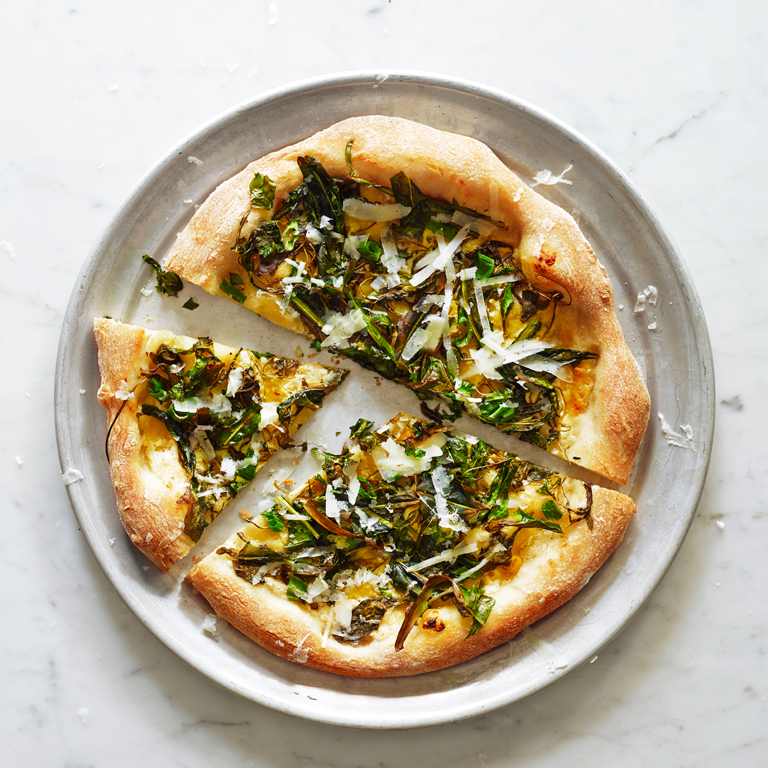 su-Pizza Bianca with Dandelion Greens Image