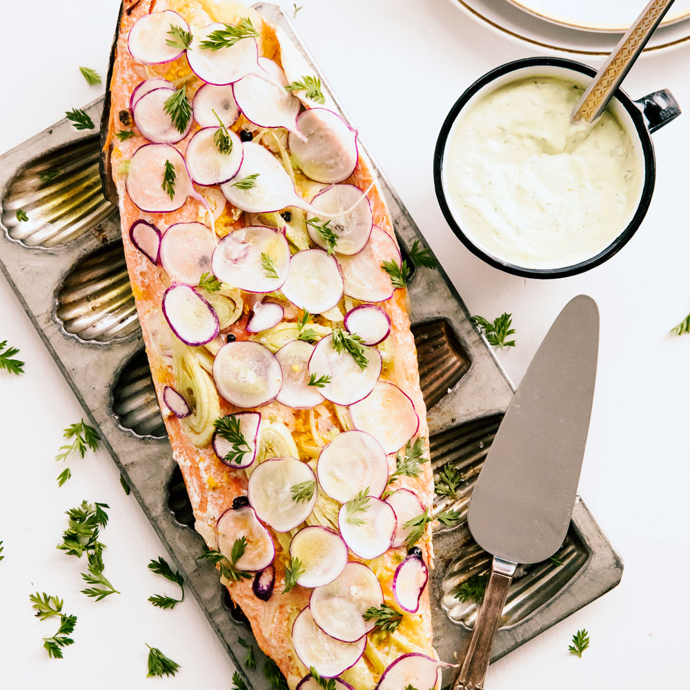 su-Poached Orange-Fennel Salmon with Dill Crème Image