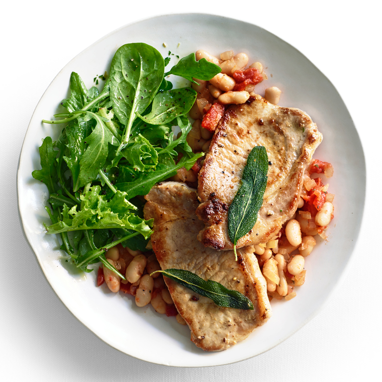 su-Pork Scaloppine with White Beans and Fried Sage Image