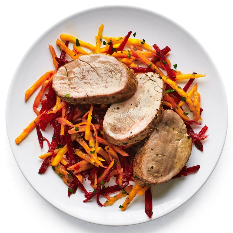 su-Pork Tenderloin with Crunchy Beet Slaw Image