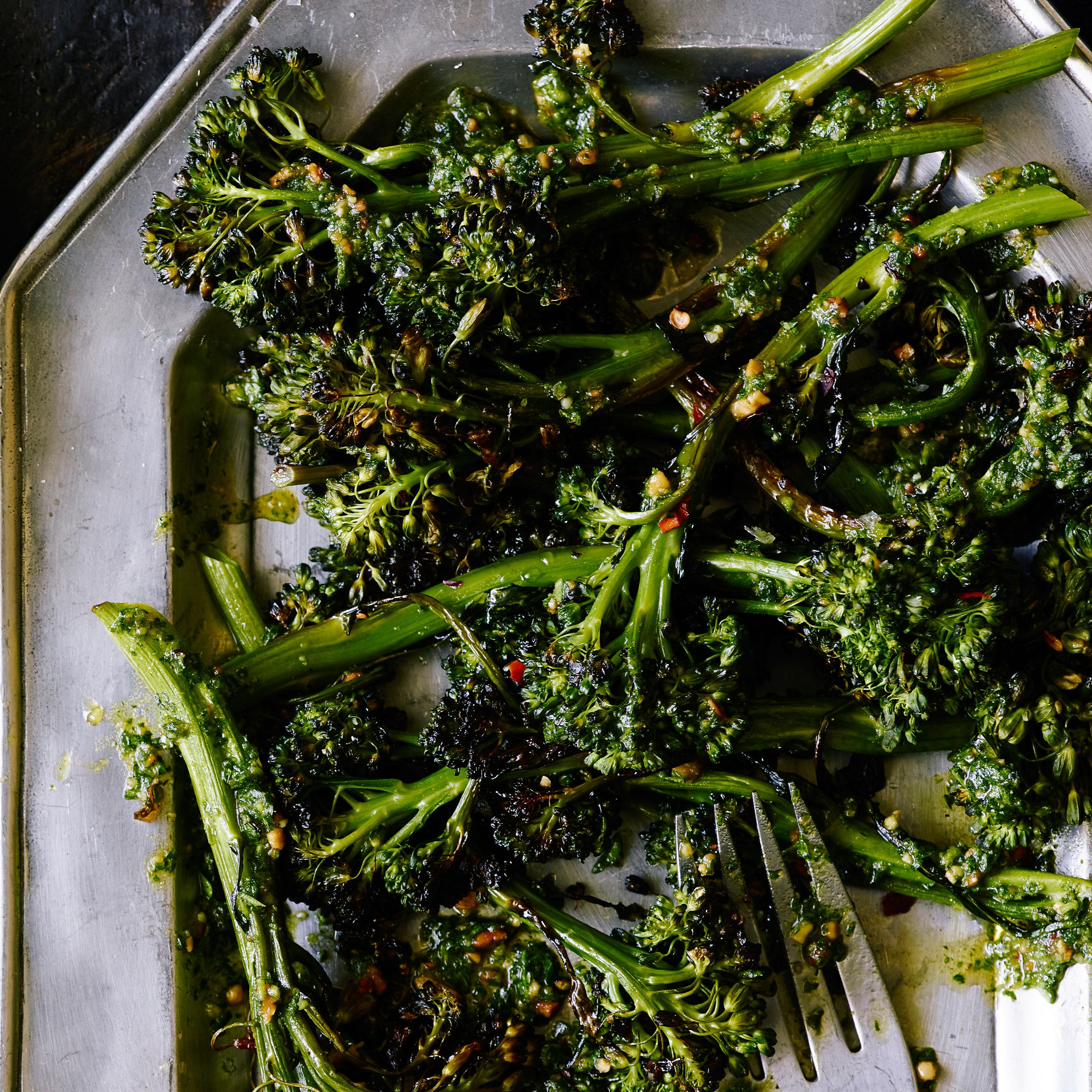 su-Roasted Broccolini with Almond Parsley Pesto Image