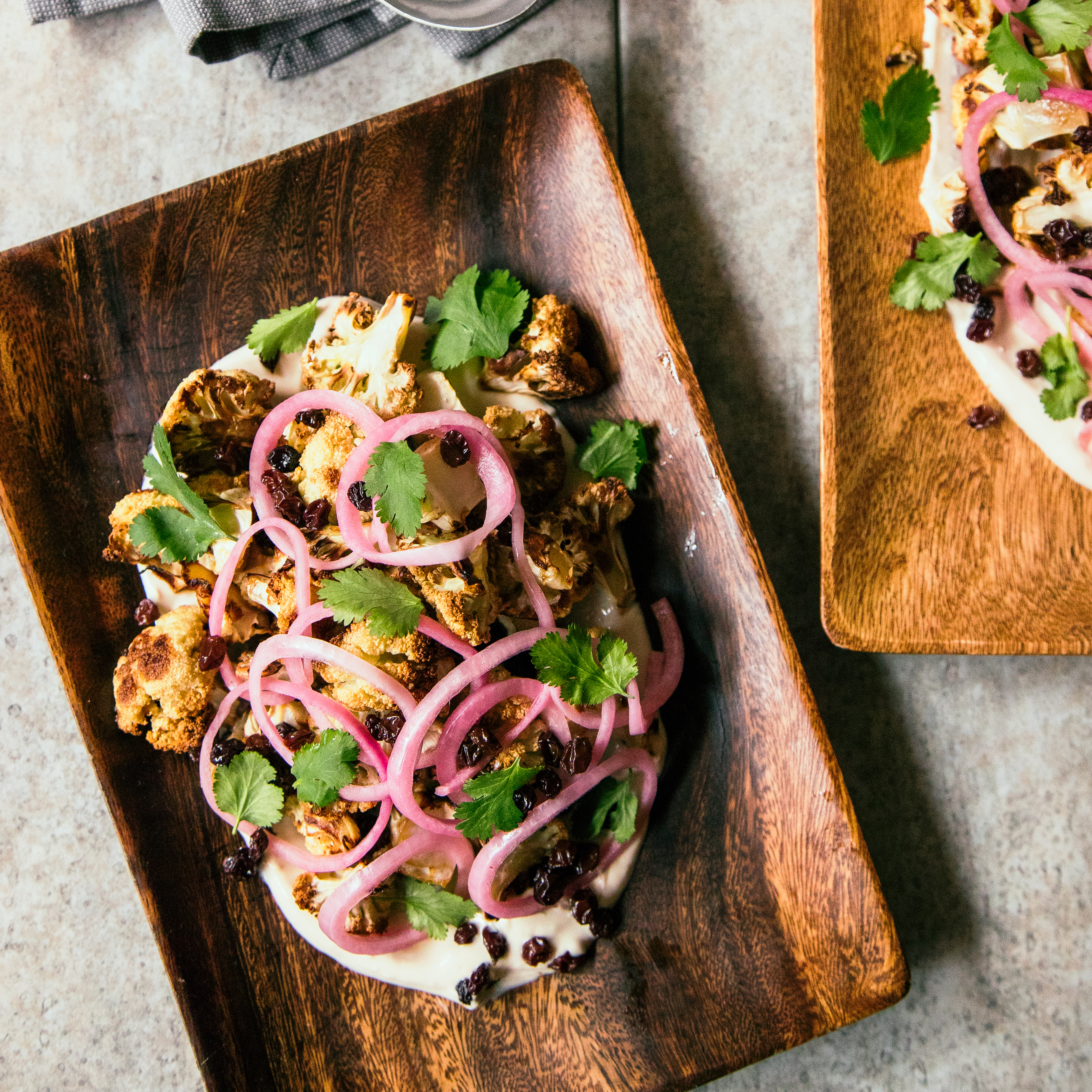su-Roasted Cauliflower with Pickled Onion and Yogurt Sauce Image