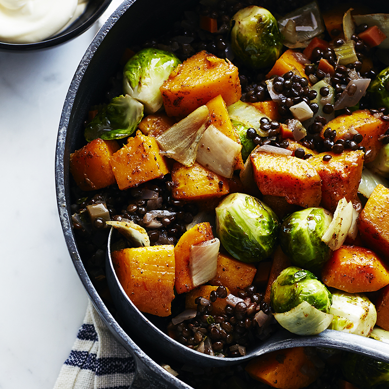 su-Roasted Fall Vegetables with Lentils and Spices Image