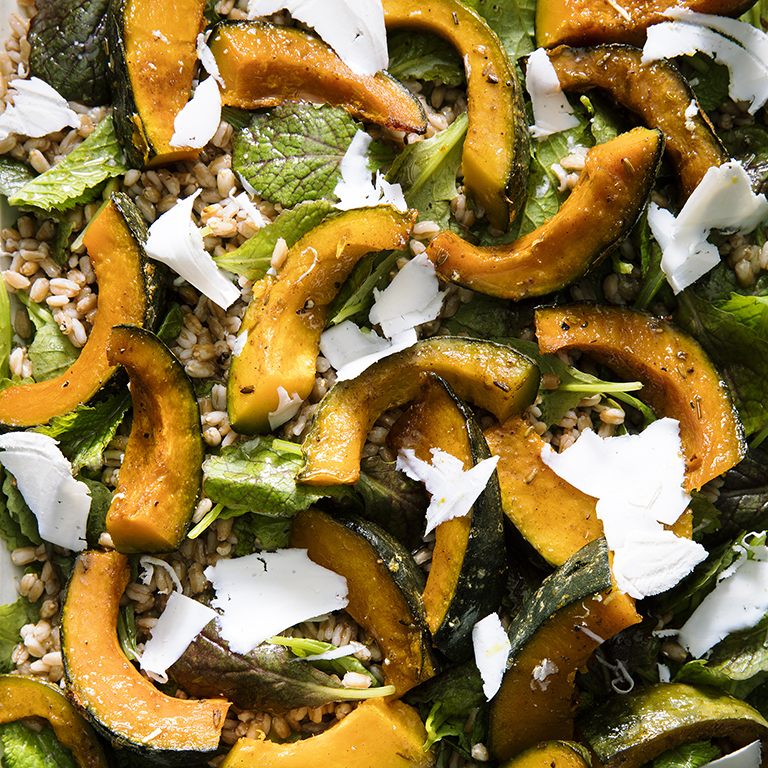 su-Roasted Kabocha Squash with Farro and Mustard Greens Image