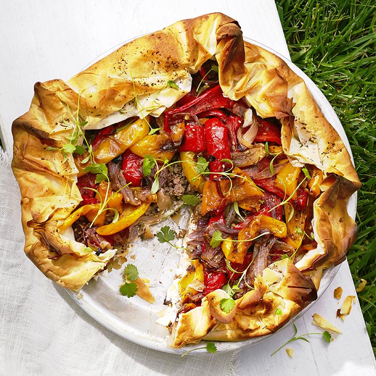 su-Roasted Pepper, Feta, and Lamb Filo Pie Image